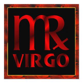 Red Virgo Horoscope Symbol 13 Cm X 13 Cm Square Invitation Card