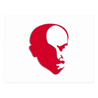 Red Vladimir Ilich Lenin stencil silhuette Postcard