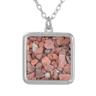 Red Volcanic Rocks Ground Cover Silver Plated Necklace