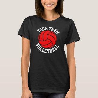 Red Volleyball Custom Team Name Women's Black Tee