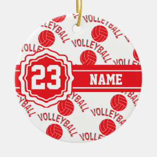 Red Volleyball | DIY Name and Number Ceramic Ornament