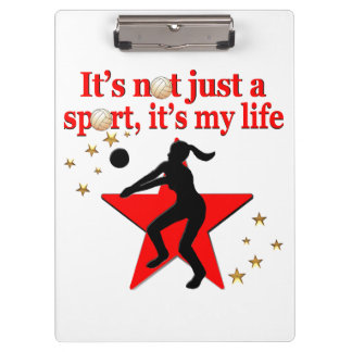 RED VOLLEYBALL IS MY LIFE DESIGN CLIPBOARDS