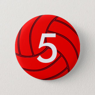 Red Volleyball Jersey Number Round Button