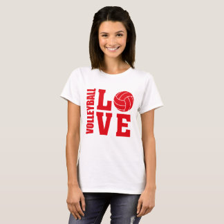 Red Volleyball Love, Volleyball T-Shirt