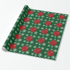 Red Volleyball Snowflake Holiday Wrapping Paper