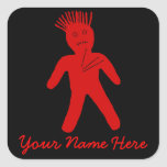 Red Voodoo Doll Square Sticker