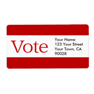 red vote shipping label