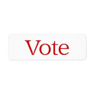 red Vote Return Address Label