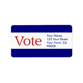red vote address label