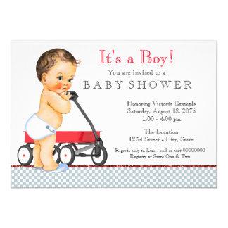 Red Wagon Baby Shower 13 Cm X 18 Cm Invitation Card