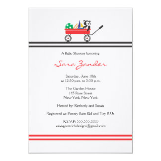 Red Wagon Baby Shower Invitation
