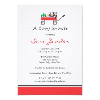 "Red Wagon Baby Shower Invitation 5"" X 7"" Invitation Card"