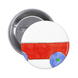 Red Wagon Pinback Button