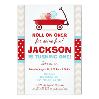 Red Wagon Birthday Invitation Litte Red Wagon Blue