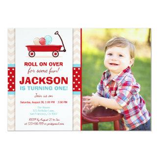 Red Wagon Birthday Invitation Litte Red Wagon Blue