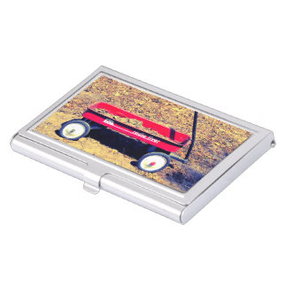 Red Wagon Business Card Holder
