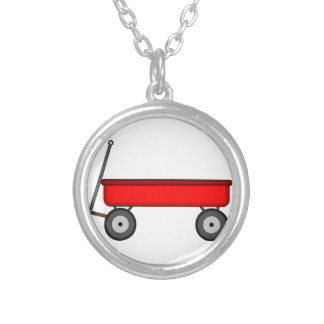 Red Wagon Drawing Silver Plated Necklace