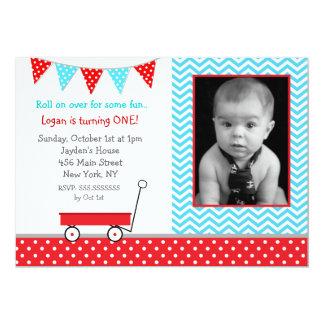 Red Wagon Photo Birthday Party Invitations