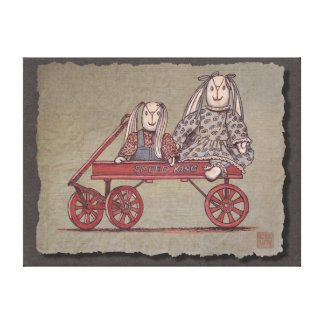 Red Wagon Rabbit Dolls Gallery Wrap Canvas