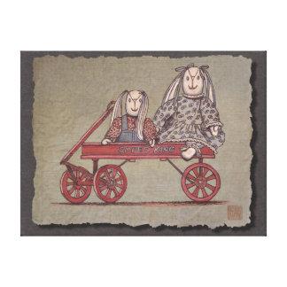 Red Wagon Rabbit Dolls Gallery Wrap Canvas