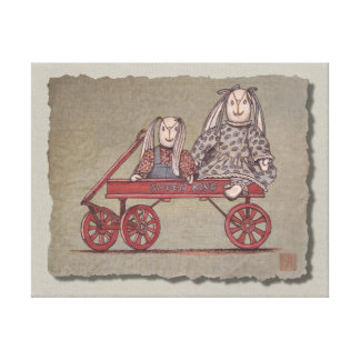 Red Wagon Rabbit Dolls Gallery Wrapped Canvas