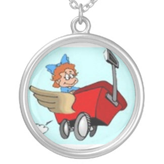 Red Wagon Round Pendant Necklace