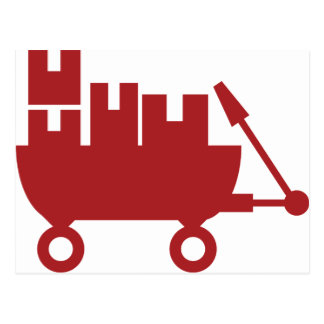 Red Wagon Shipping Boxes Icon Postcard