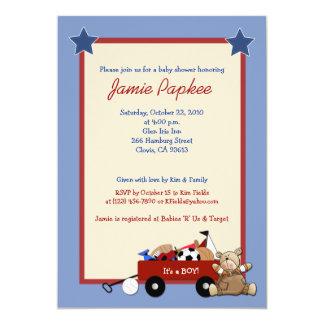 Red Wagon Teddy Bear 5x7 Sports Baby Shower 13 Cm X 18 Cm Invitation Card