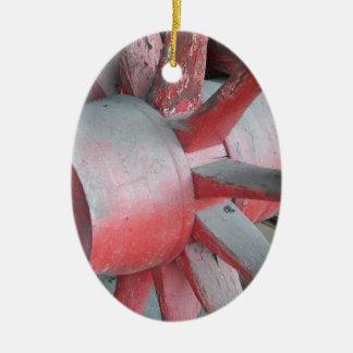 Red Wagon Wheel Ceramic Oval Decoration