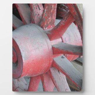Red Wagon Wheel Photo Plaque