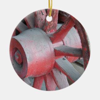 Red Wagon Wheel Round Ceramic Decoration