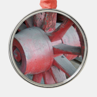 Red Wagon Wheel Silver-Colored Round Decoration