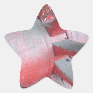 Red Wagon Wheel Star Sticker