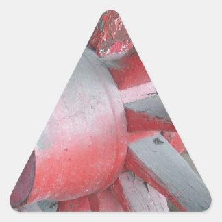 Red Wagon Wheel Triangle Sticker