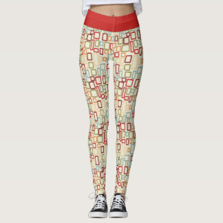Red Waist Band with Pattern of Squares >Leggings Leggings