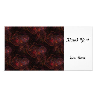 Red Waives Fractal Photo Card Template