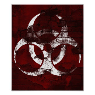 Red Wall Bio-Hazard Illustration Poster