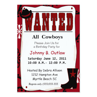 Red  Wanted Poster Birthday Invitation
