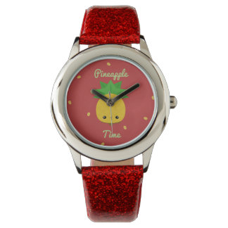 Red watch glitter sparkle kids pineapple