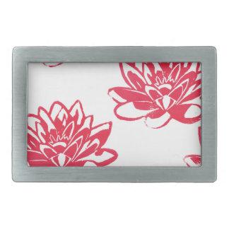Red water lilies belt buckle