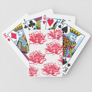 Red water lilies bicycle playing cards