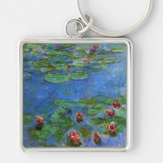 Red Water Lilies, Claude Monet Silver-Colored Square Key Ring