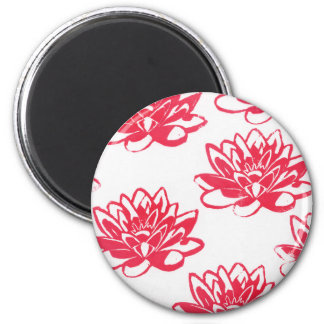 Red water lilies magnet