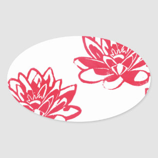 Red water lilies oval sticker