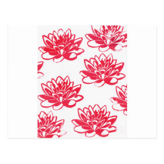 Red water lilies postcard