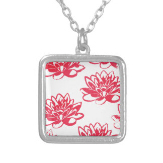 Red water lilies silver plated necklace