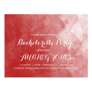 Red Watercolor Bachelorette Party Invitations