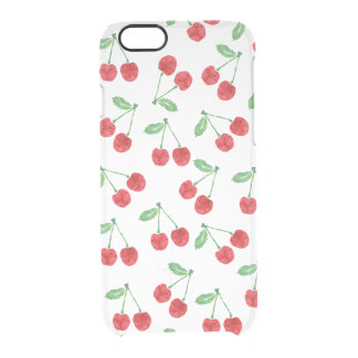 Red Watercolor Cherry Pattern Clear Clear iPhone 6/6S Case