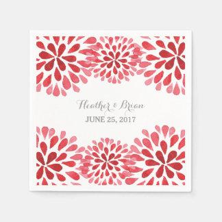 Red Watercolor Chrysanthemum Paper Napkins
