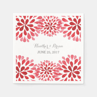 Red Watercolor Chrysanthemum Paper Napkins Disposable Napkin